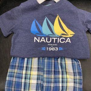 NEW NAUTICA BOYS BLUE/PLAID SET WITH BOAT DESIGN!